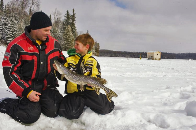 Ice Fishing Northern Pike Ontario Canada