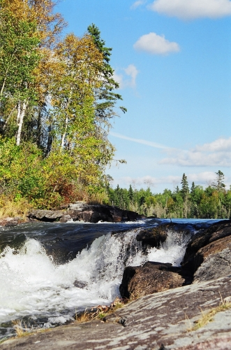 Photo taken of a small set of waterfalls, that flow near Wabaskang Lake.