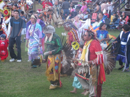 Variety of pow wow outfits in this picture, from Men's Traditional, to Fancy Shawl, to Jingle Dress, and even a young Grass Dancer.