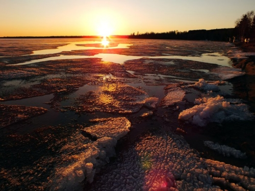 The ice melt on Thunder Lake with a beautiful sunset. Fishing season is near!