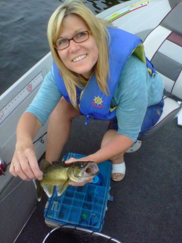 Here is Sandra Altenburg and her tasty Walleye she caught on Eagle Lake. Yum!