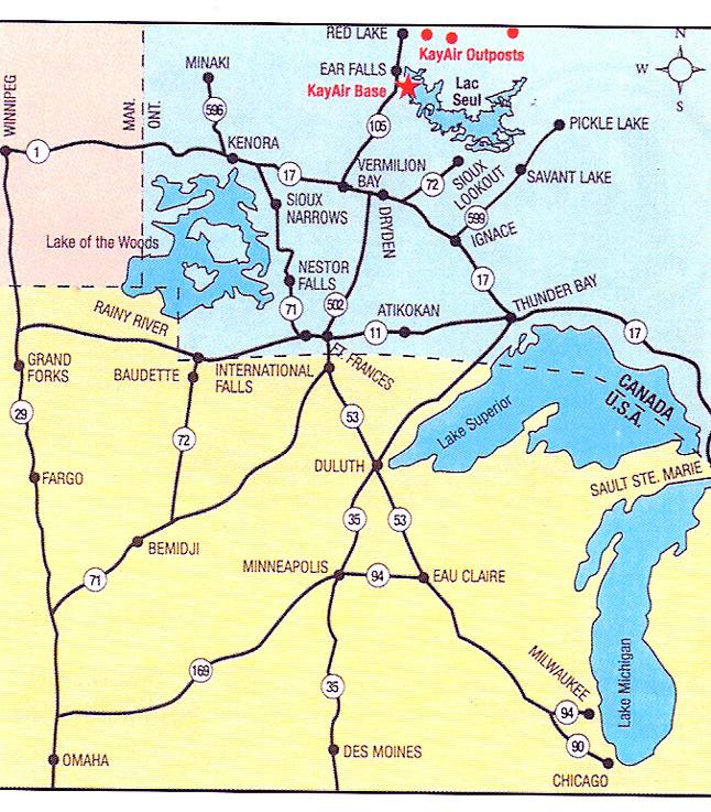 Kayair Ontario Fly-in Fishing Map