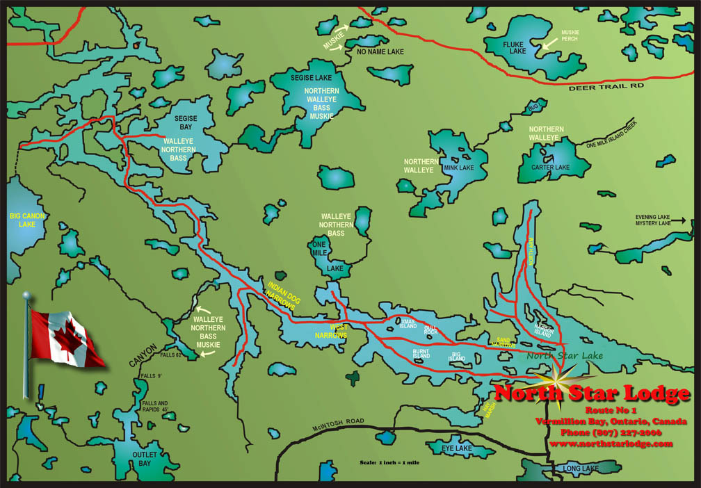 North Star Lodge Fishing Map